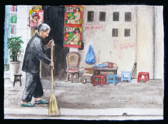 Mayura Torii, Scène de ménage, 2011Gouache sur papier, 39 × 27 cm Courtesy of the artist & Farideh Cadot