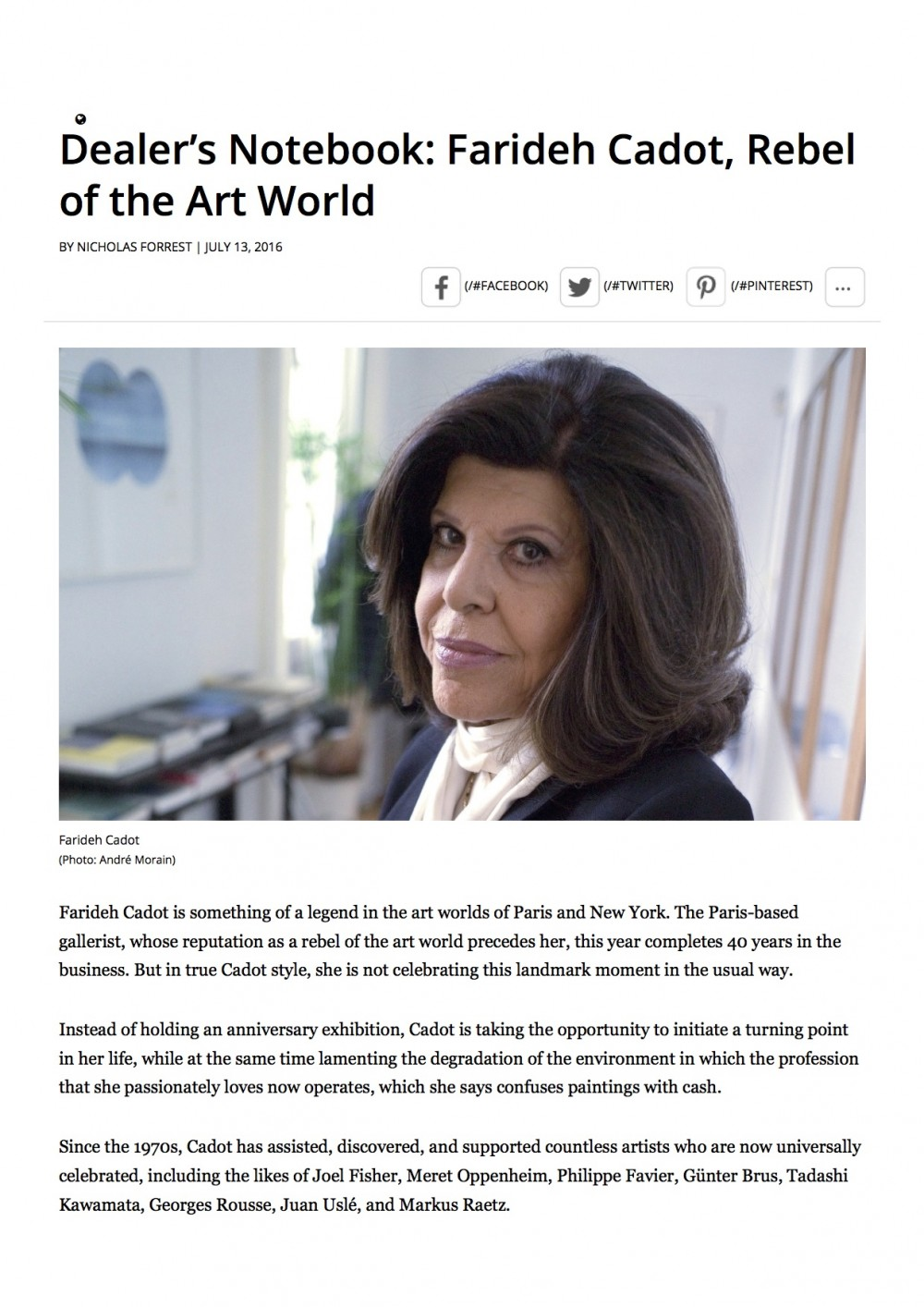 Dealer's Notebook_ Farideh Cadot, Rebel of the Art World _ BLOUIN ARTINFO