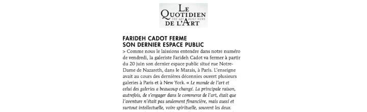 LE QUOTIDIEN DE L'ART – 20.06.2017